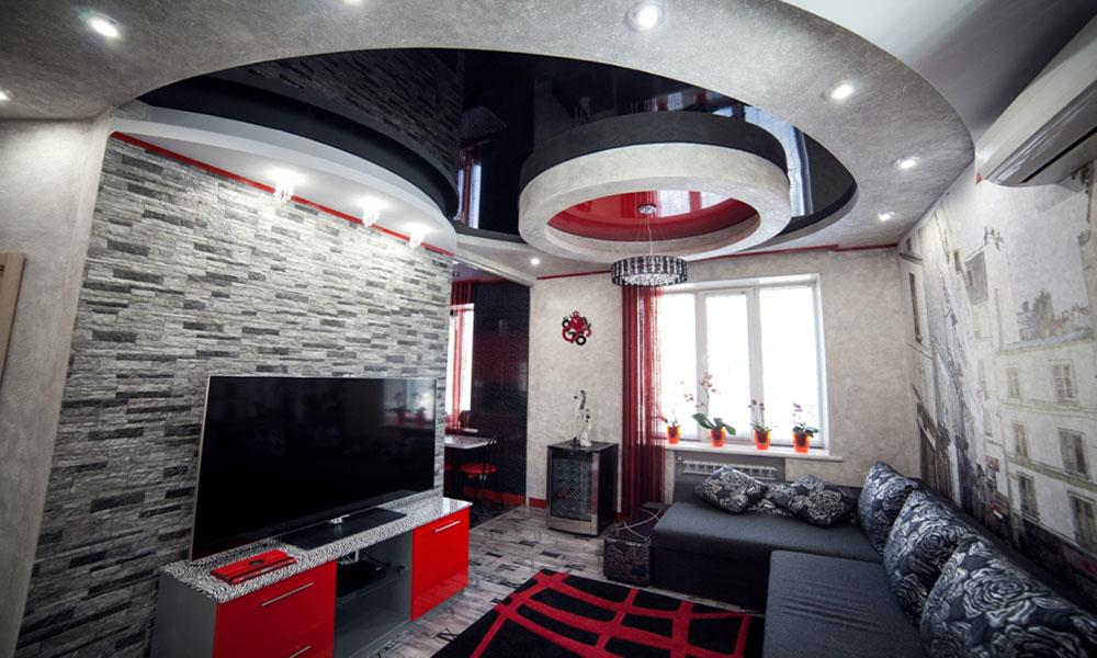 квартира студия натяжные потолки лаковые
